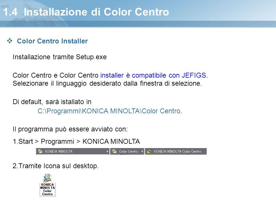 1.4 Installazione di Color Centro