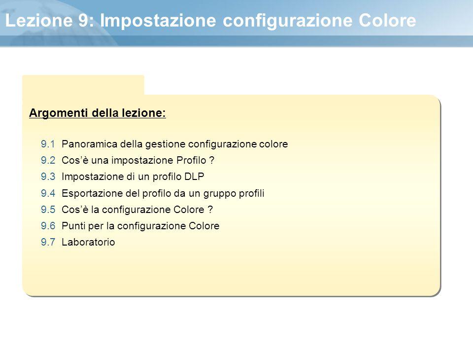 Lezione 9: Impostazione configurazione Colore