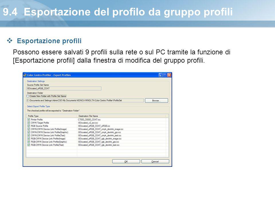 9.4 Esportazione del profilo da gruppo profili
