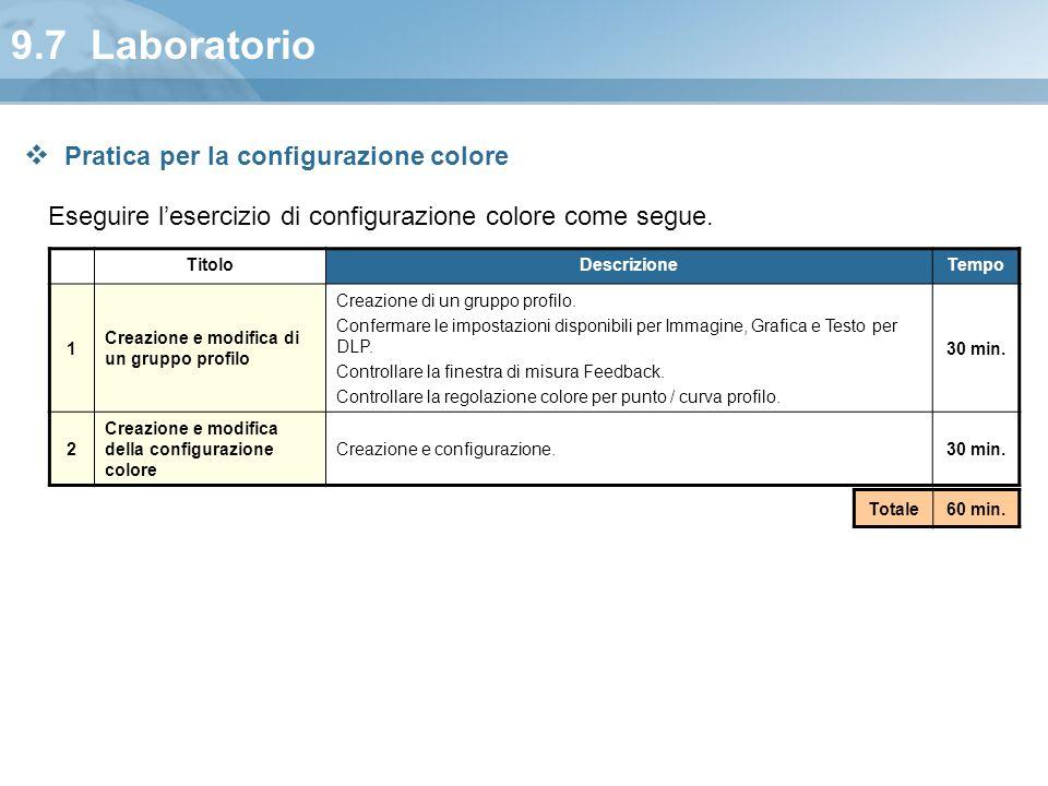 9.7 Laboratorio Pratica per la configurazione colore