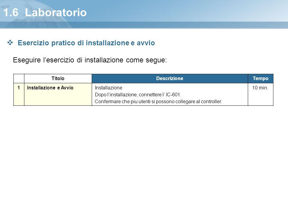 1.6 Laboratorio Esercizio pratico di installazione e avvio
