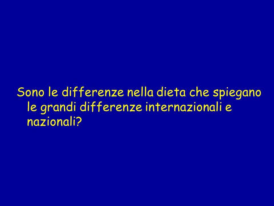 Sono le differenze nella dieta che spiegano le grandi differenze internazionali e nazionali