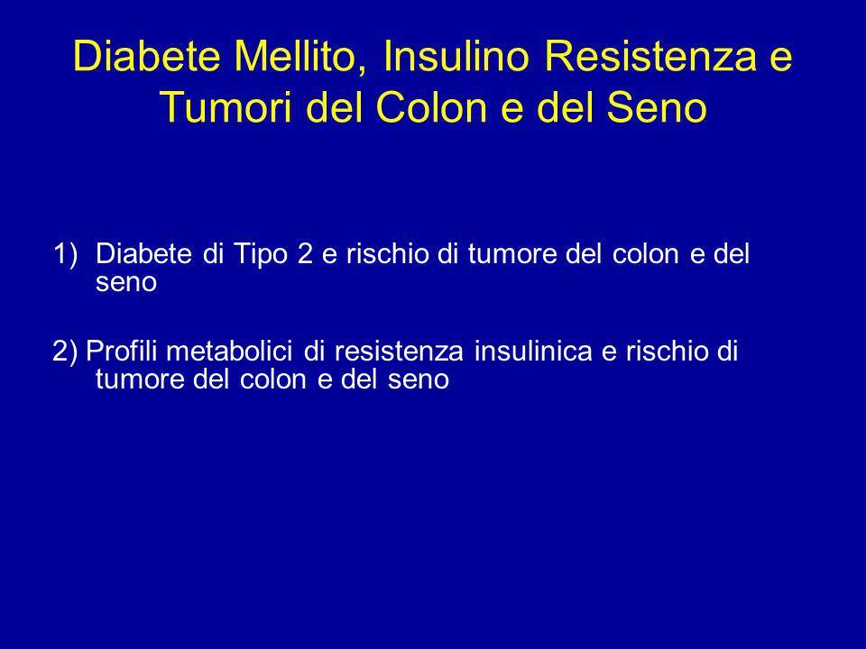 Diabete Mellito, Insulino Resistenza e Tumori del Colon e del Seno