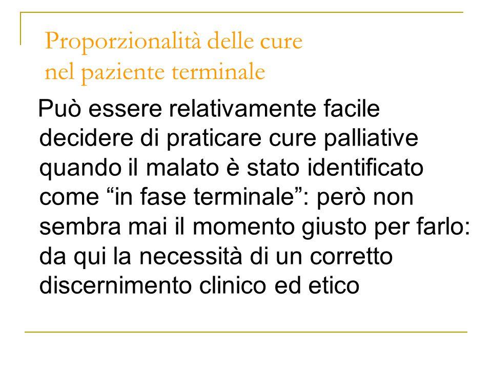 Proporzionalità delle cure nel paziente terminale