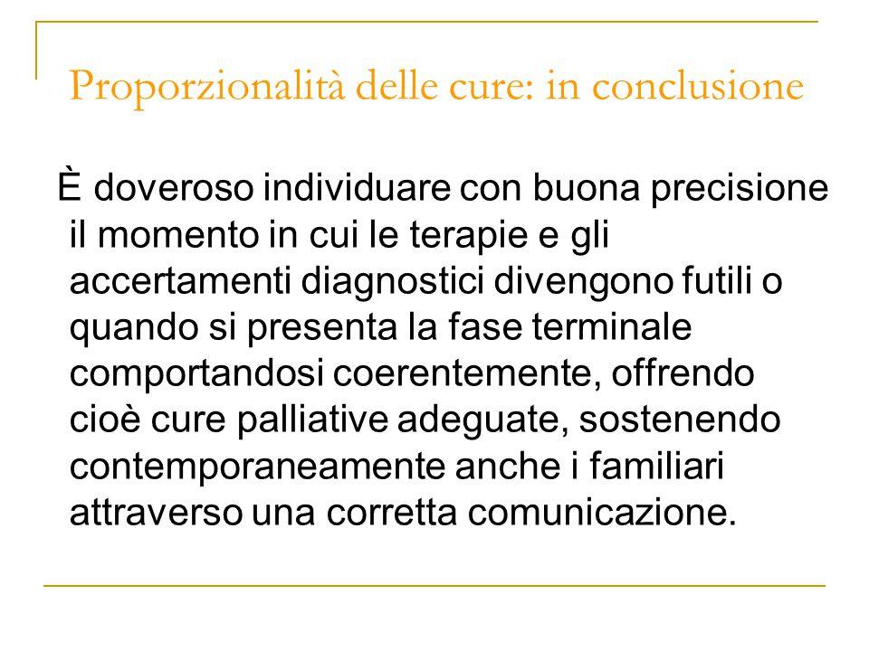 Proporzionalità delle cure: in conclusione