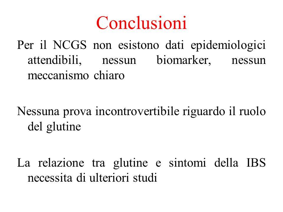 Conclusioni Per il NCGS non esistono dati epidemiologici attendibili, nessun biomarker, nessun meccanismo chiaro.