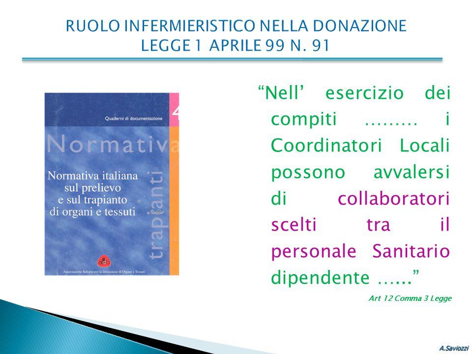RUOLO INFERMIERISTICO NELLA DONAZIONE LEGGE 1 APRILE 99 N. 91