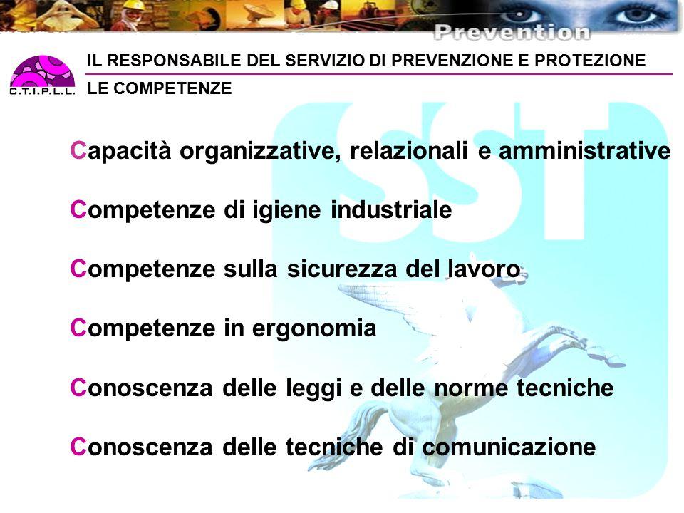 Capacità organizzative, relazionali e amministrative