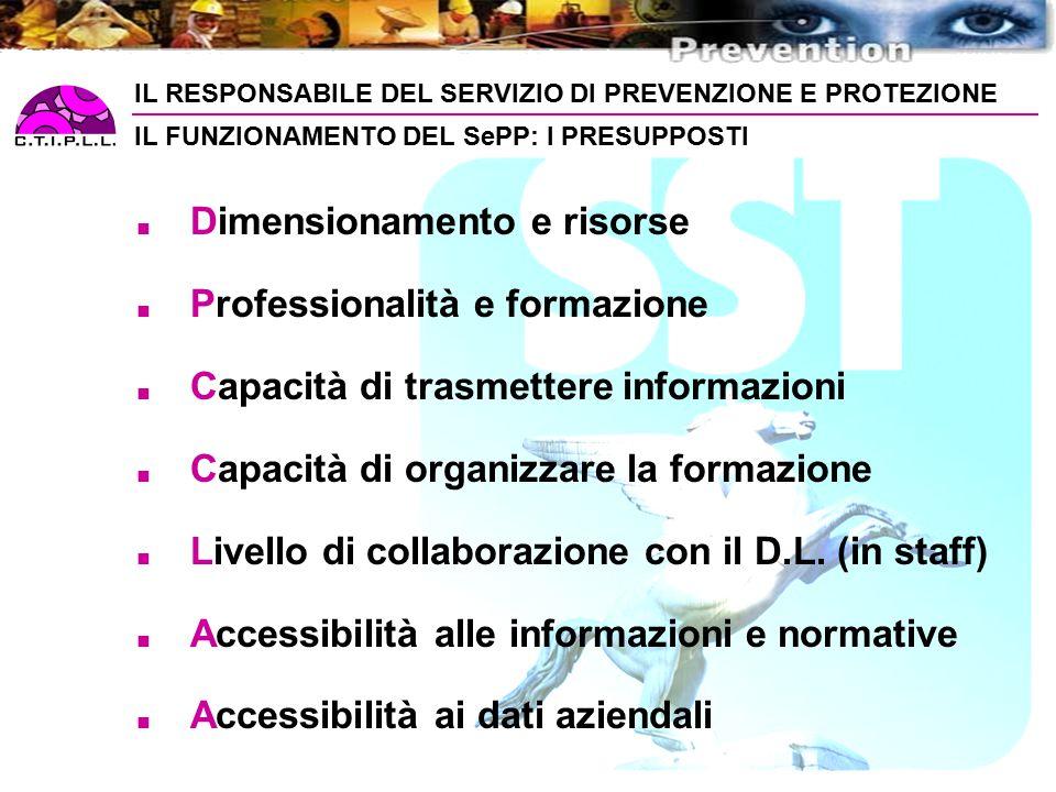 Dimensionamento e risorse Professionalità e formazione