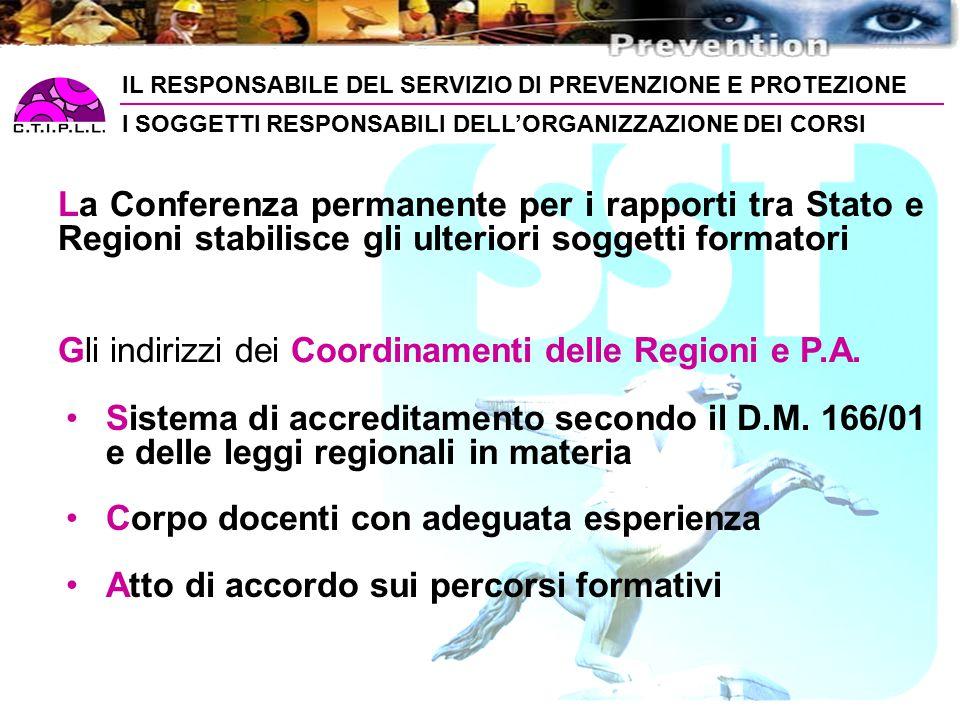 Gli indirizzi dei Coordinamenti delle Regioni e P.A.