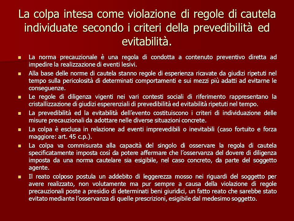 La colpa intesa come violazione di regole di cautela individuate secondo i criteri della prevedibilità ed evitabilità.