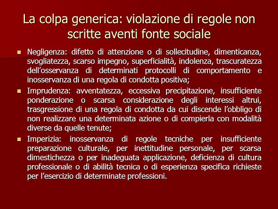 La colpa generica: violazione di regole non scritte aventi fonte sociale