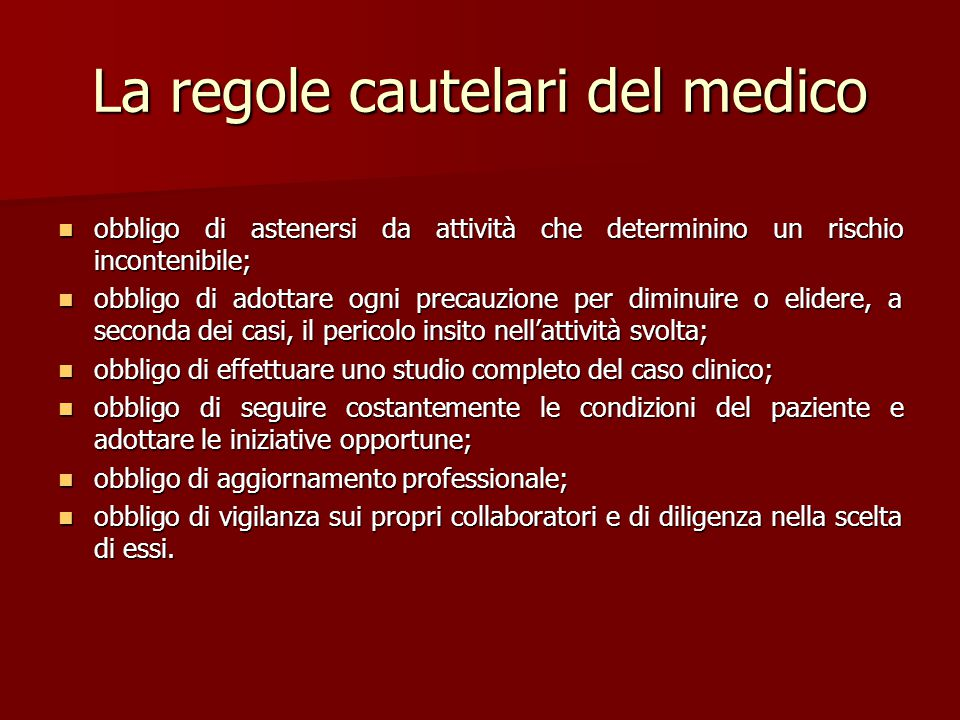 La regole cautelari del medico