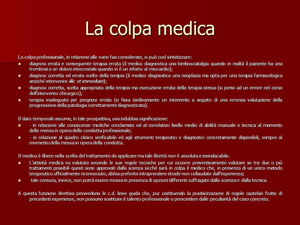 La colpa medica La colpa professionale, in relazione alle varie fasi considerate, si può così sintetizzare: