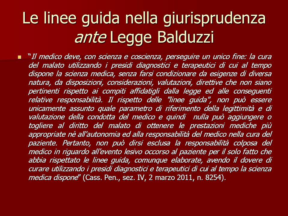 Le linee guida nella giurisprudenza ante Legge Balduzzi