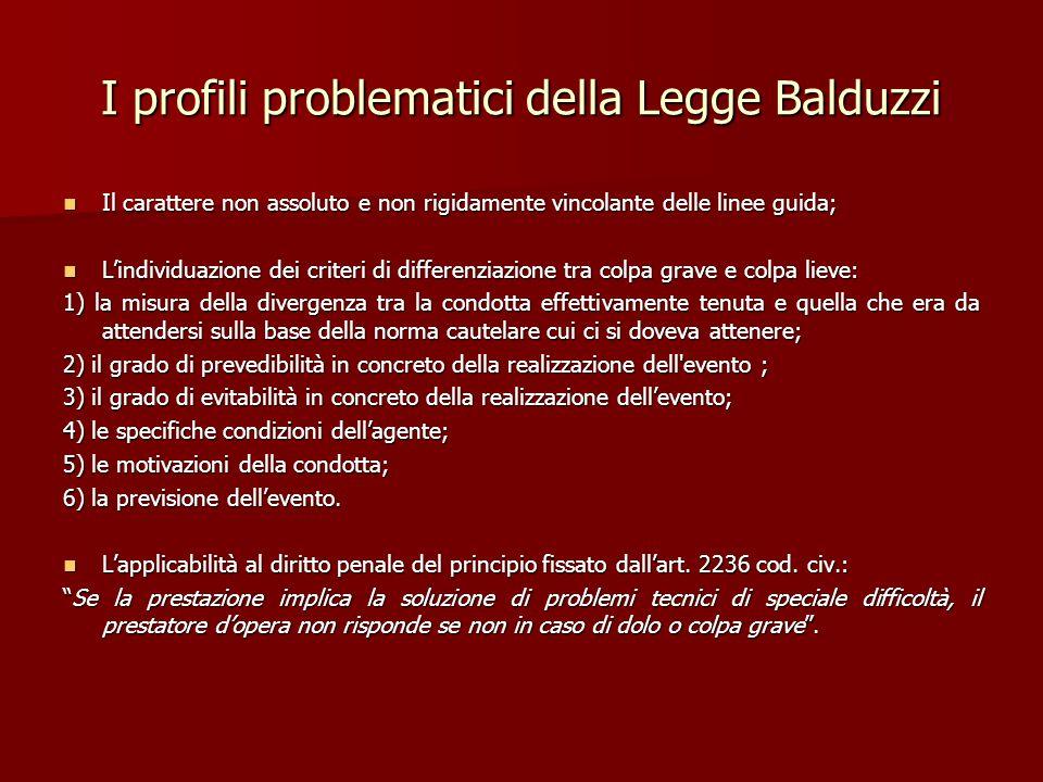 I profili problematici della Legge Balduzzi