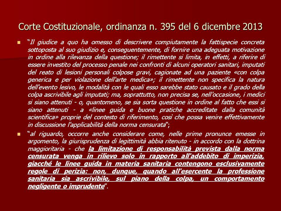 Corte Costituzionale, ordinanza n. 395 del 6 dicembre 2013