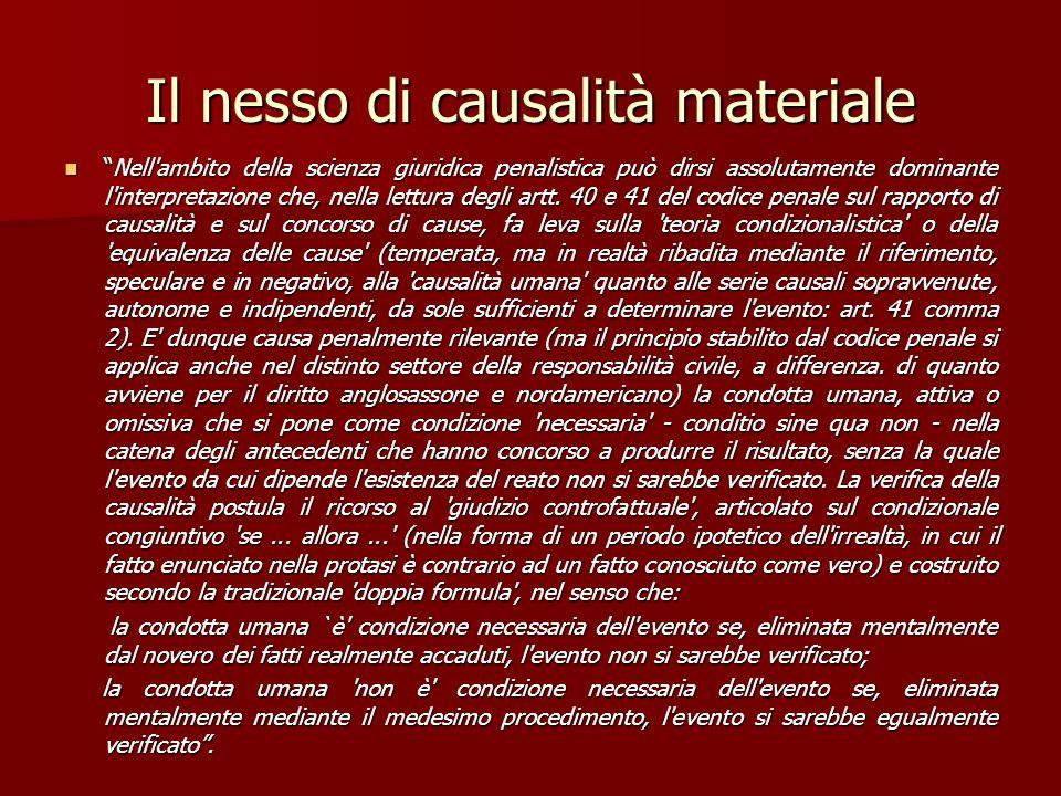 Il nesso di causalità materiale