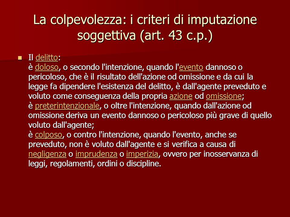 La colpevolezza: i criteri di imputazione soggettiva (art. 43 c.p.)