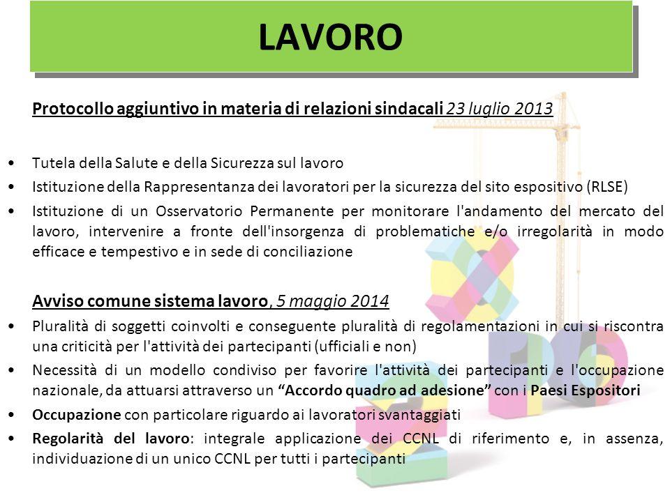 LAVORO Protocollo aggiuntivo in materia di relazioni sindacali 23 luglio 2013. Tutela della Salute e della Sicurezza sul lavoro.