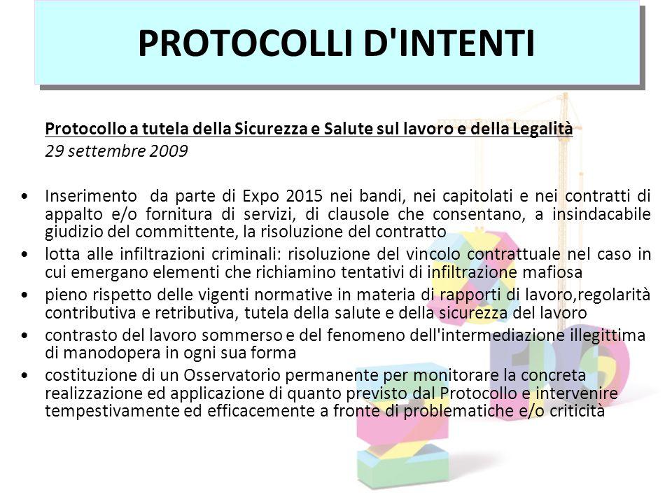 PROTOCOLLI D INTENTI Protocollo a tutela della Sicurezza e Salute sul lavoro e della Legalità. 29 settembre 2009.