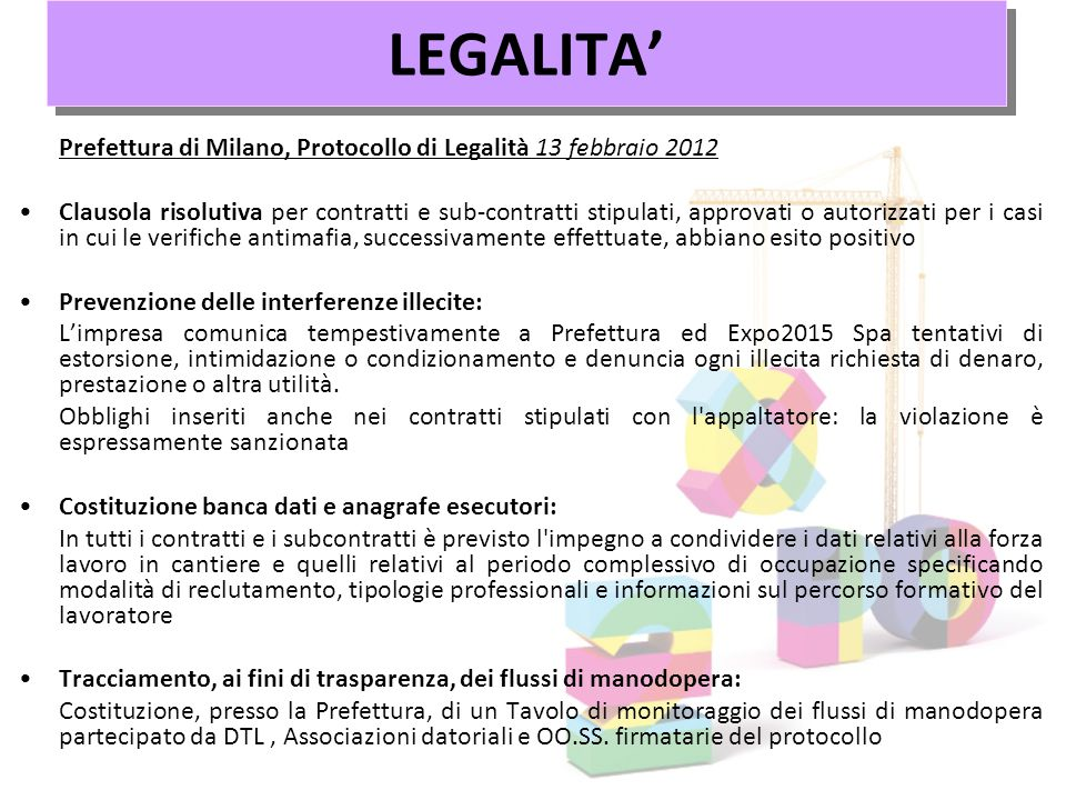 LEGALITA' Prefettura di Milano, Protocollo di Legalità 13 febbraio 2012.