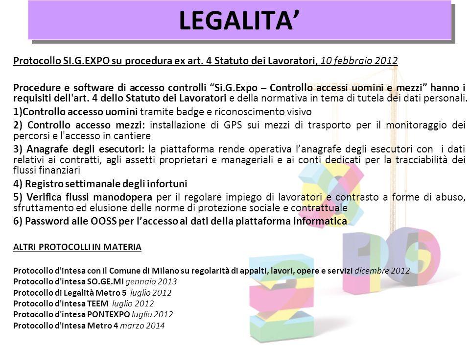 LEGALITA' Protocollo SI.G.EXPO su procedura ex art. 4 Statuto dei Lavoratori, 10 febbraio 2012.