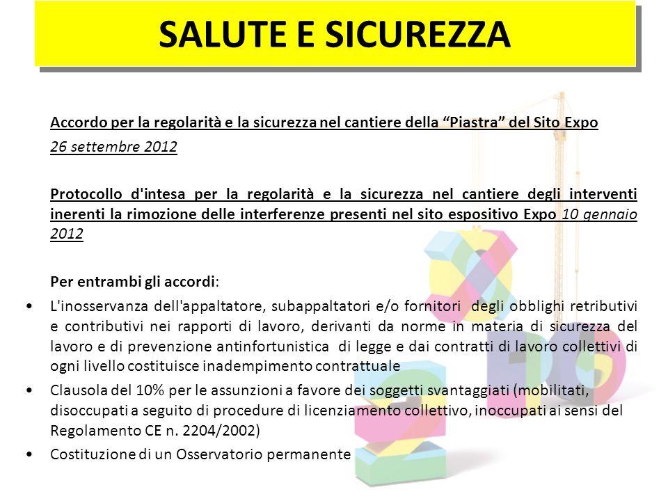 SALUTE E SICUREZZA 26 settembre 2012