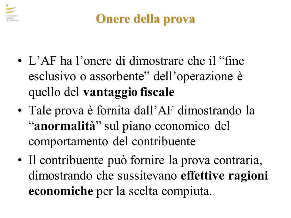 Onere della prova L'AF ha l'onere di dimostrare che il fine esclusivo o assorbente dell'operazione è quello del vantaggio fiscale.