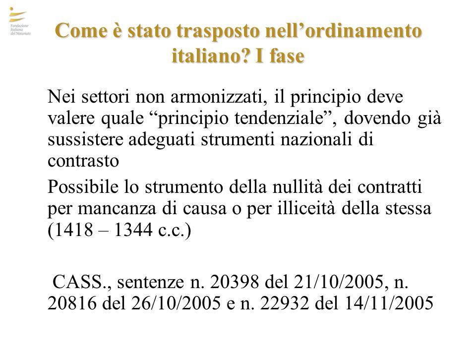 Come è stato trasposto nell'ordinamento italiano I fase