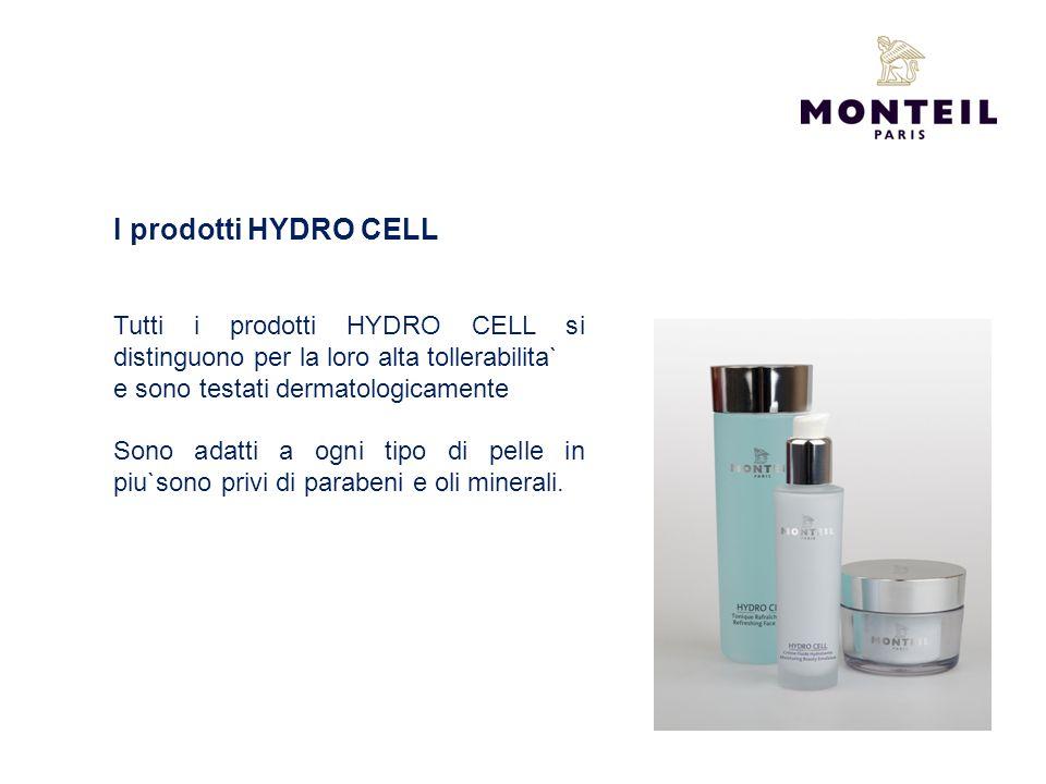 I prodotti HYDRO CELLTutti i prodotti HYDRO CELL si distinguono per la loro alta tollerabilita` e sono testati dermatologicamente.