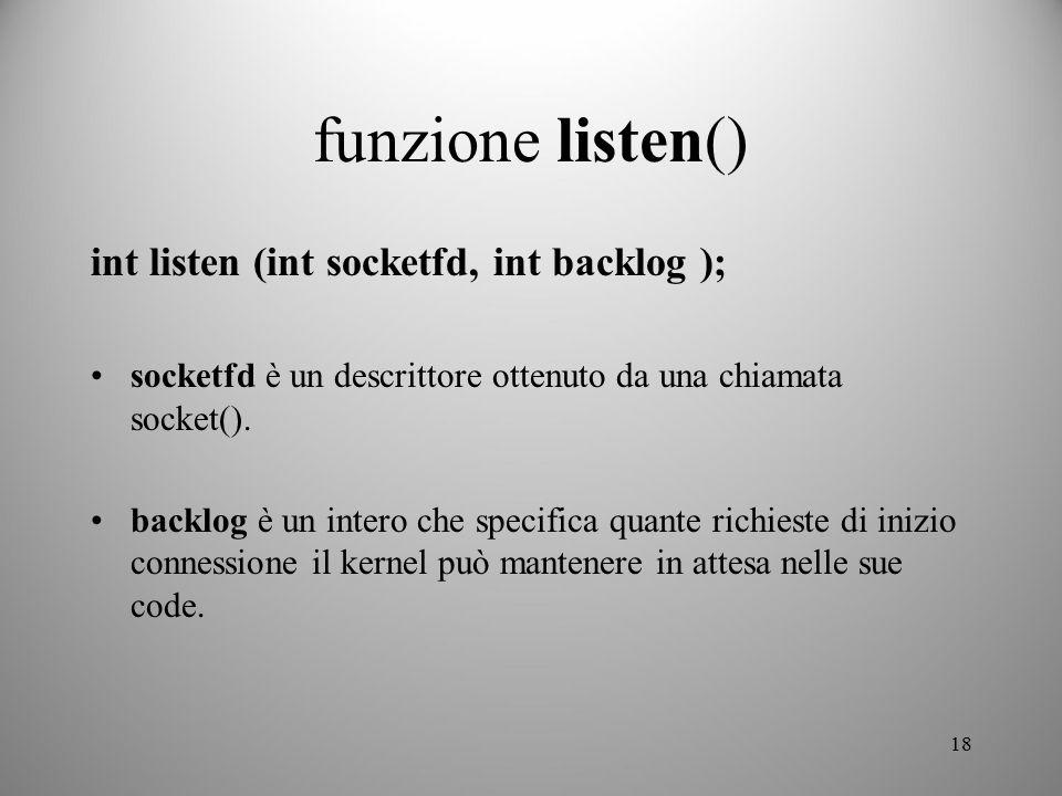 funzione listen() int listen (int socketfd, int backlog );