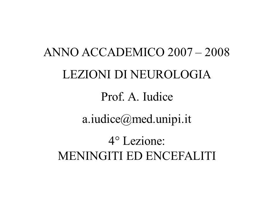 4° Lezione: MENINGITI ED ENCEFALITI