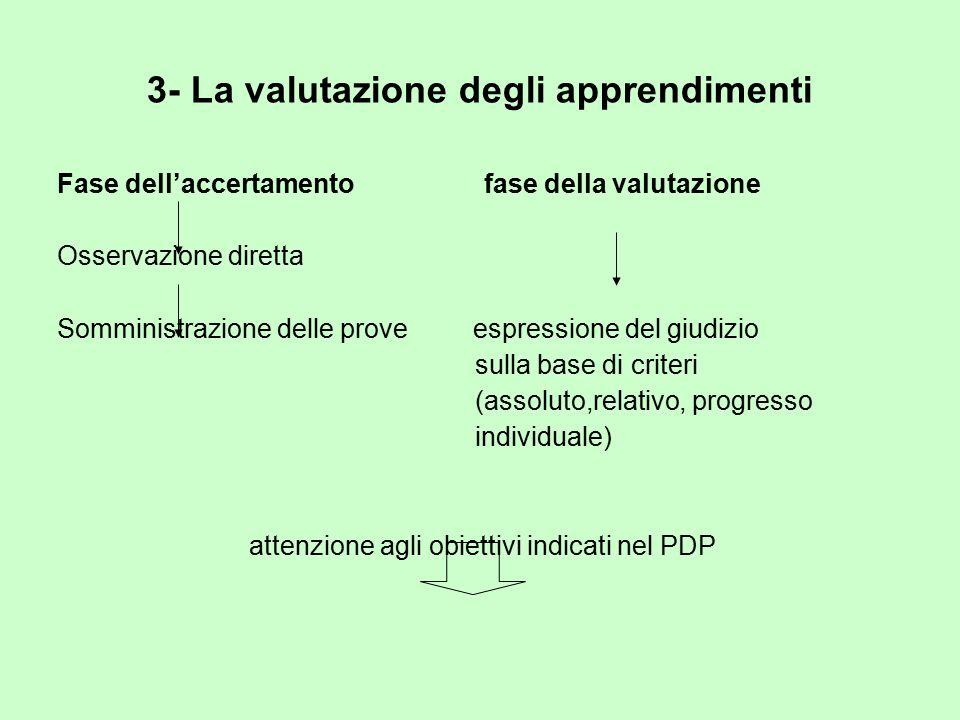 3- La valutazione degli apprendimenti