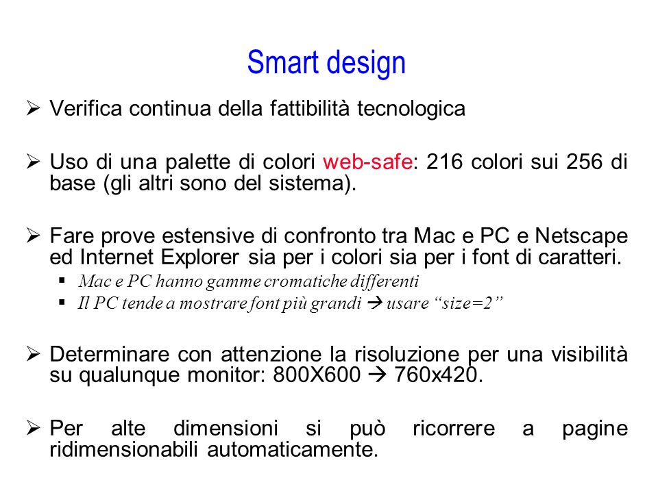 Smart design Verifica continua della fattibilità tecnologica