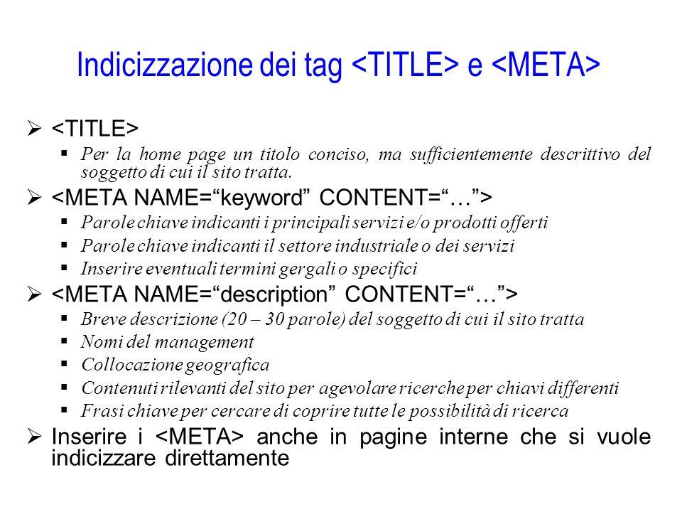 Indicizzazione dei tag <TITLE> e <META>