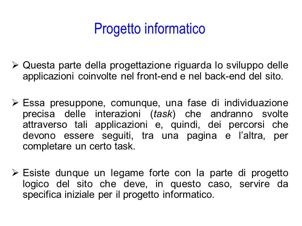 Progetto informatico Questa parte della progettazione riguarda lo sviluppo delle applicazioni coinvolte nel front-end e nel back-end del sito.