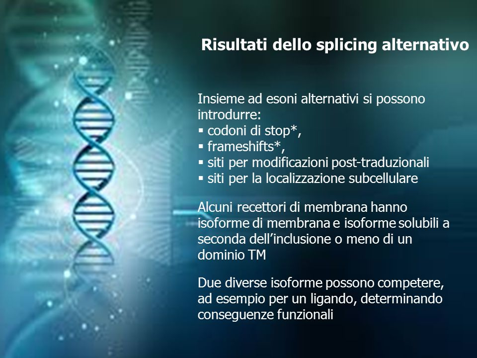 Risultati dello splicing alternativo