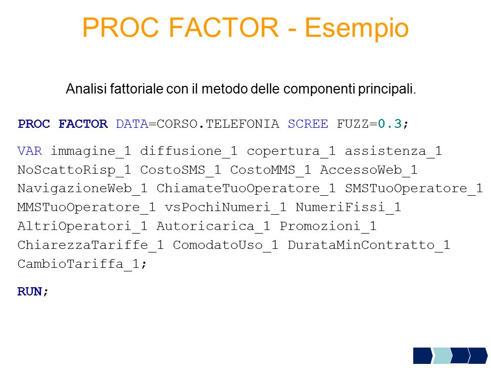 Analisi fattoriale con il metodo delle componenti principali.