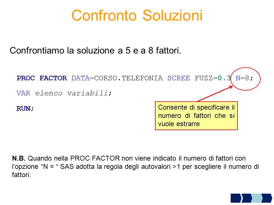 Confronto Soluzioni Confrontiamo la soluzione a 5 e a 8 fattori.