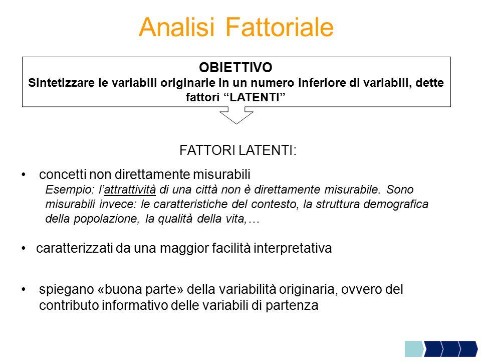 Analisi Fattoriale OBIETTIVO Sintetizzare le variabili originarie in un numero inferiore di variabili, dette fattori LATENTI