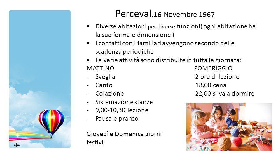 Perceval,16 Novembre 1967 Diverse abitazioni per diverse funzioni( ogni abitazione ha la sua forma e dimensione )