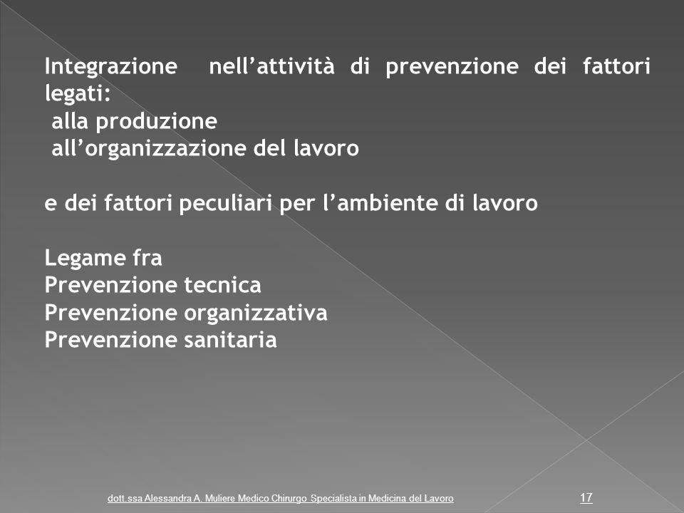 Integrazione nell'attività di prevenzione dei fattori legati: