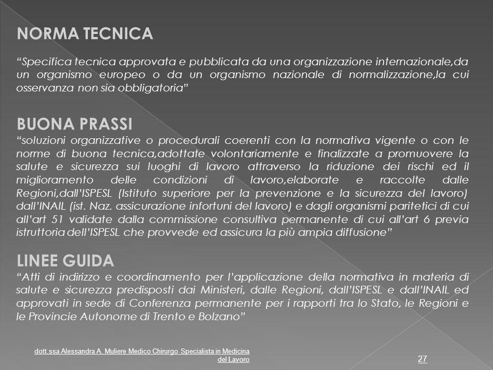 NORMA TECNICA BUONA PRASSI LINEE GUIDA