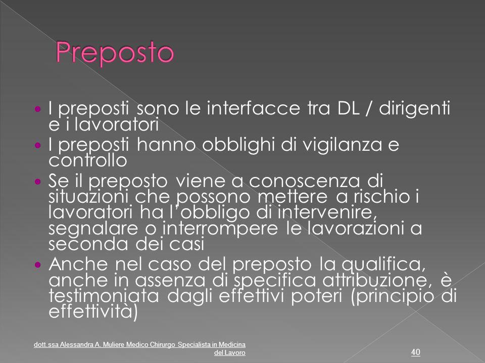 Preposto I preposti sono le interfacce tra DL / dirigenti e i lavoratori. I preposti hanno obblighi di vigilanza e controllo.