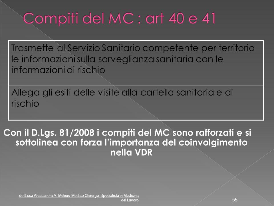 Compiti del MC : art 40 e 41