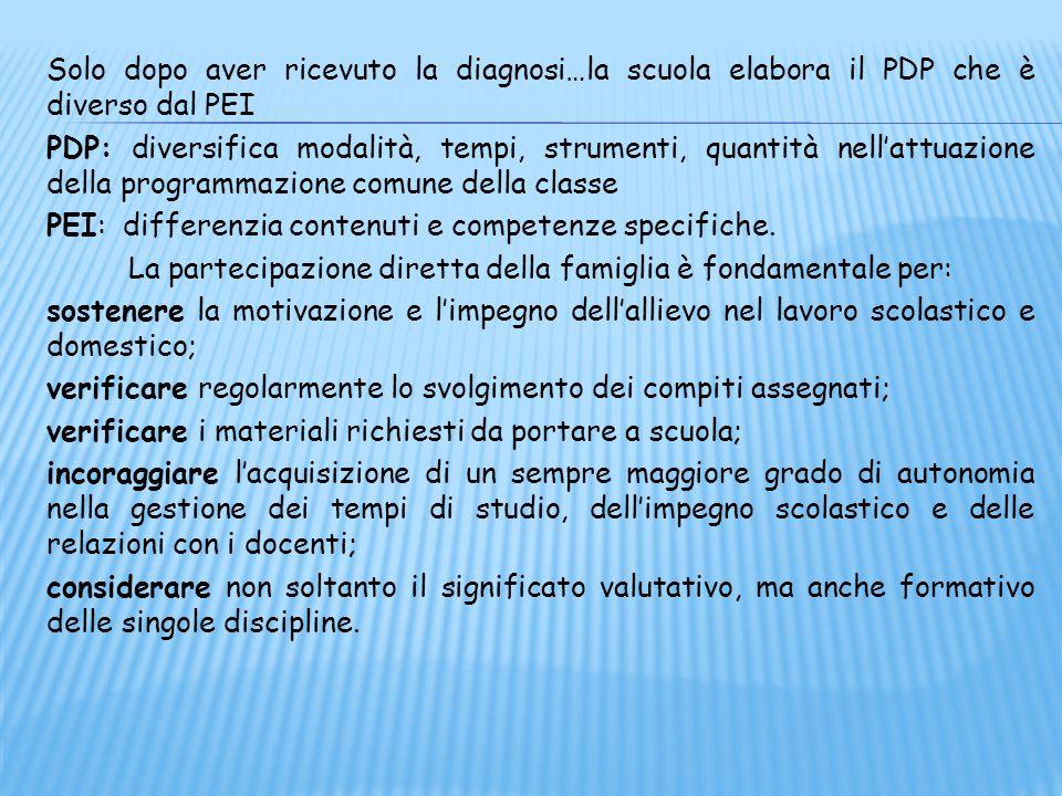 Solo dopo aver ricevuto la diagnosi…la scuola elabora il PDP che è diverso dal PEI PDP: diversifica modalità, tempi, strumenti, quantità nell'attuazione della programmazione comune della classe PEI: differenzia contenuti e competenze specifiche.