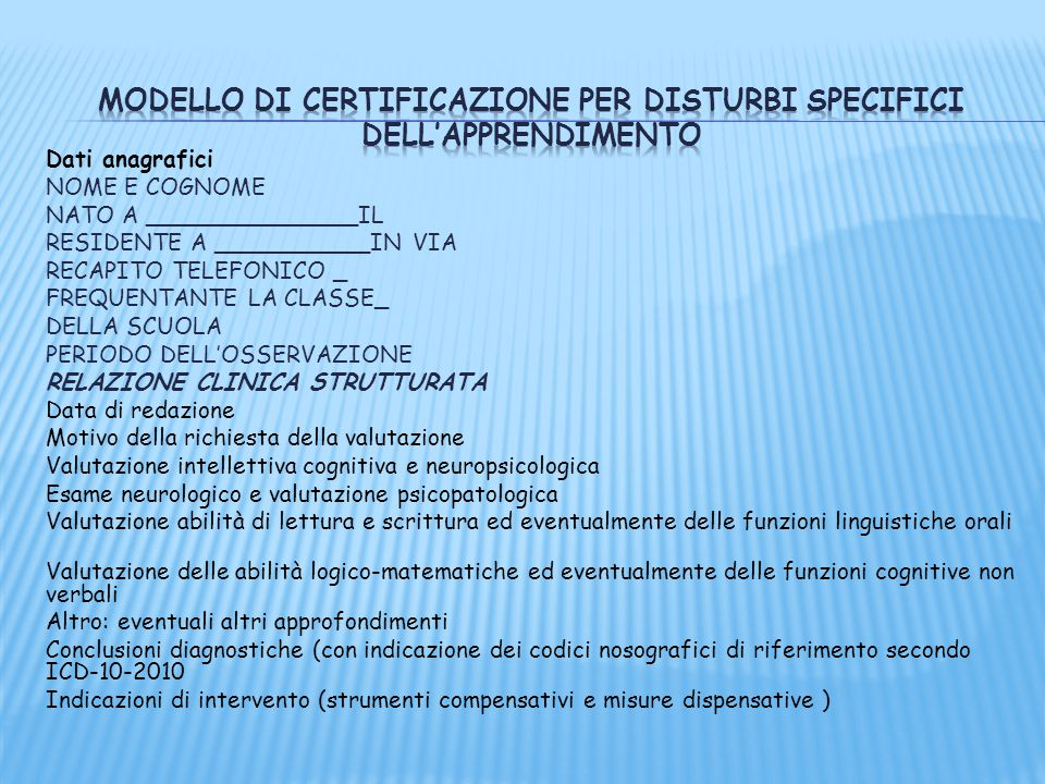 Modello di certificazione per Disturbi specifici dell'apprendimento