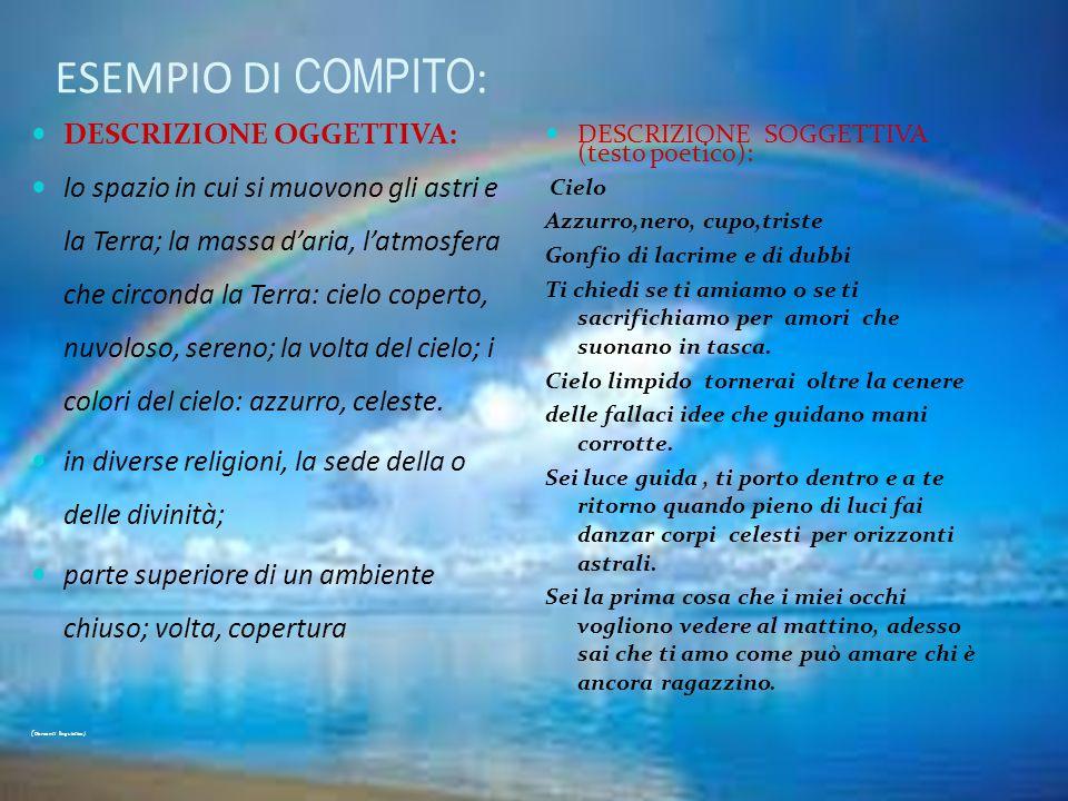 ESEMPIO DI COMPITO: DESCRIZIONE OGGETTIVA: