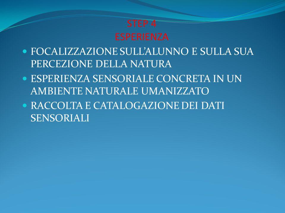 STEP 4 ESPERIENZA FOCALIZZAZIONE SULL'ALUNNO E SULLA SUA PERCEZIONE DELLA NATURA. ESPERIENZA SENSORIALE CONCRETA IN UN AMBIENTE NATURALE UMANIZZATO.